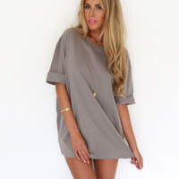 Plain Sleeve Shift Dress Shirt