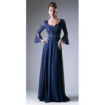 Embroidered Long Formal Dress with Trumpet Long Sleeves Navy Blue