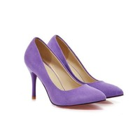 Shoes Women High Heels Ladies Shoes Flock Pointed Toe Women Pumps Shoes Woman High Heels Blue Purple