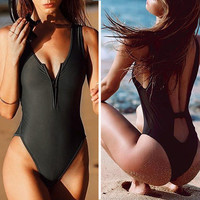 black swimsuits one piece women zip hot sexy 2017 plus size bathing suits funny Swimsuit body summer swimming surf XL brasil