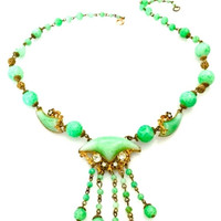 Art Deco Czech Glass Necklace, Green Peking Glass, Rich Ornate Brass Details , Clear Rhinestone Accents, Floral Brass Tone Accents, 1930