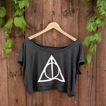 """Deathly Hallows Crop Top - In """"ALMOST BLACK"""" - One Size American Apparel Loose Crop T"""