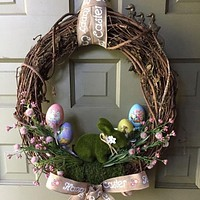 2019 DIY Easter Natural Dry Branches Rattan Wreath Easter Party Decor Garland Easter Decoration for Home Party Supplies 45DA