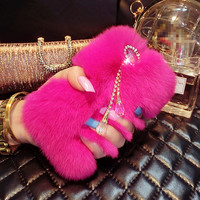 Genuine Plush Soft Rabbit Fur Bling Diamond Case iPhone 6 plus and 6s Plus