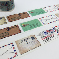 Happy Mail tape 5M Retro envelope EXTRA WIDE washi tape vintage envelope love Letter sticker tape writing studying planner diary scrapbook