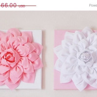 """MOTHERS DAY SALE Two Wall Hangings Light Pink Dahlia on White and White Dahlia on Light Pink  12 x12"""" Canvases Wall Art- Baby Nursery Wall D"""