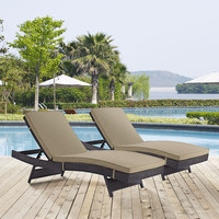 Outdoor Patio Furniture Adjustable Water Resistant Pair of Chaise Lounge Chairs
