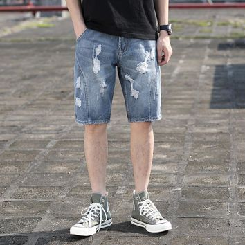 Summer Ripped Holes Denim Shorts Casual Pants Jeans [3501327548509]