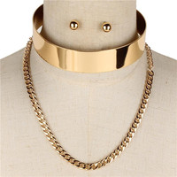 """14"""" layered chain open cuff choker necklace .25"""" earrings .80"""" wide 4"""" drop 2 separate pieces"""