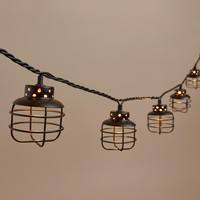 Black Metal Cage 10 Bulb String Lights