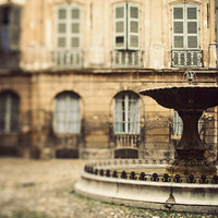 Provence Photo,  Aix-en-Provence Fountain, South of France, Romantic Travel Photography, Town Square - La Fontaine
