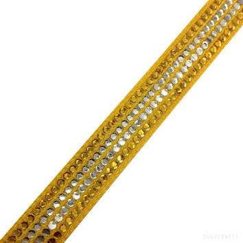 Sunny Yellow and Gold Sequined Ribbon / Trim / Lace - Yellow and Gold Ribbon for Dresses, Sari  and more