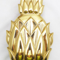 """Virginia Metalcrafters Polished Brass Pineapple Door Knocker 6 1/4"""", Historic Newport Reproduction with Original Box"""