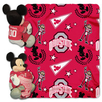 "Ohio State College-Disney 40x50 Fleece Throw w/ 14"""" Plush Mickey Hugger"