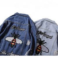 Gucci Fashion Bee Embroidery Distressed Denim Cardigan Jacket Coat