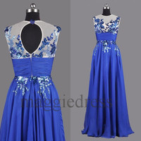Custom Royal Blue Applique Backless Long Prom Dresses Evening Gowns Formal Party Dress Homecoming Dresses Formal Wear Cocktail Dresess