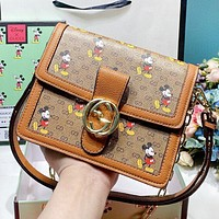GUCCI & Disney New fashion mouse more letter print leather shoulder bag crossbody bag Brown