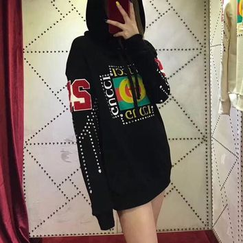 """""""Gucci"""" Fashion Diamond Letter Print Long Sleeve Hooded Sweater Women Casual Pullover Hoodie Tops"""