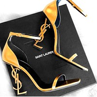 YSL Yves Saint Laurent Fashion Women Sexy Letter High Heels Shoes Sandals 15#