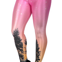 Pink Aurora Sky Leggings Design 466