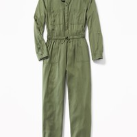 Soft Twill Utility Jumpsuit for Girls | Old Navy
