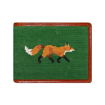 Fox Needlepoint Wallet in Dark Forest by Smathers & Branson
