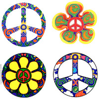 Four Peace 2-Sided Window Sticker on Sale for $3.99 at HippieShop.com