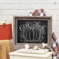 Thanksgiving Give Thanks with Pumpkin - Print
