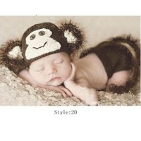 Generic Crochet Knitted Baby Hat Cap Girl Boy Diaper Monkey Photography Prop Costume Set
