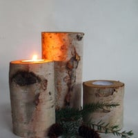 Trio  of White Birch Wood Tea Light Candle Holders