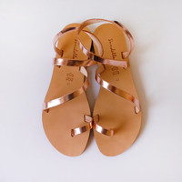 Sandals - Genuine Greek Style Leather  Sandals in Bronze // Rose gold color