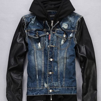 Park & 5th Denim Jacket with Leather Sleeves