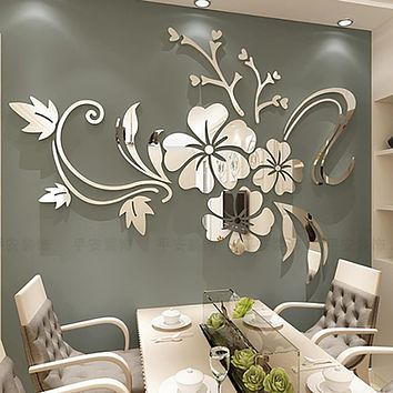 Exquisite Flower 3D Mirror Wall Stickers