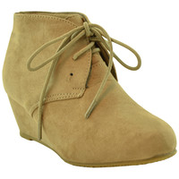 Kids Lace Up Suede Wedge Ankle Boots Taupe