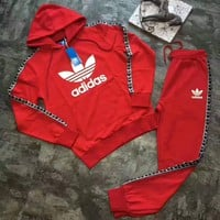 Adidas : Women fashion Hooded pullover long sleeve pants two piece suit hoodie suit H-A-GHSY-1