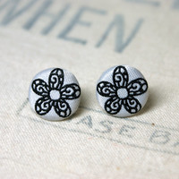 Choice of Fabric Covered Button Post Earrings Flower, Dot, or Spiral Stud Earrings