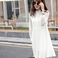 Lace Long-Sleeve Pleated Button-Up Collared Dress