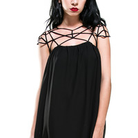 Spiderweb Criss Cross Black Mini Chiffon Dress