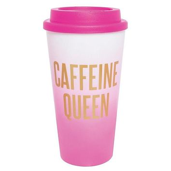 Caffeine Queen Travel Tumbler | Pink Gradient | Holds 16 oz.