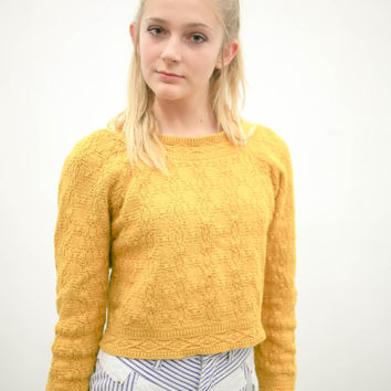 70s mustard yellow pullover sweater, vintage 1970s gold long sleeve shirt, orange cotton cropped top, ironic vtg tumblr, urban outfitters