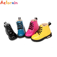 2016 Aelorxin Enfant Children Martin Boots PU Leather Kids Sneakers Girls Boys Winter Shoes Kids Rain Boots Waterproof Chaussure