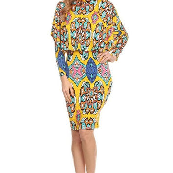 Multi-Color Floral Print Long Sleeve Bodycon Knee Length Dress 5624BY