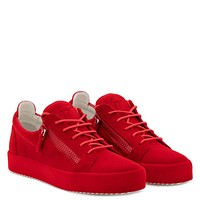 Giuseppe Zanotti Gz The Unfinished Red Leather Low-top Sneaker With Flocking Patina