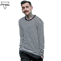 T-shirt Casual Men Cotton Striped Long Sleeve T Shirt Men's Black White