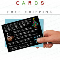 Geeky Christmas Card, Zork Video Game Christmas Cards, Funny Christmas Cards, Pixel Christmas, Text Adventure Card, Video Game Holiday Card
