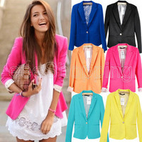 One Button Candy Color Womens Lapel Casual Suits Blazer Jacket Outerwear Q058