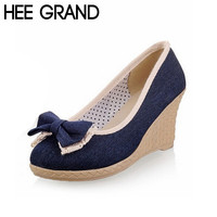 New Arrival Fashion Women Wedge Heel High Pumps Sweet With Big Denim Bowtie Soes Woman Three Colors Drop Shipping XWD384