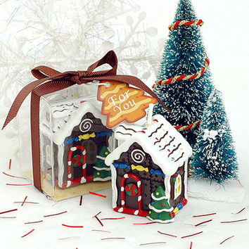 Handmade Candle: Christmas Little Hut with Snow, Christmas Tree and Candies with Gift Box, Handmade Christmas Decor, Christmas Ornament