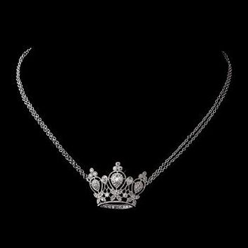 The Crown, An Antique Silver Crystal Crown Necklace