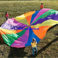 NEW 12' Foot Kid Play Sturdy Parachute Canopy Tent Outdoor jump-sack Rainbow umbrella Exercise Sport Game
